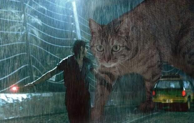 """Парк юрских котиков: что было бы если в """"Парке юрского периода"""" вместо динозавров были кошки"""