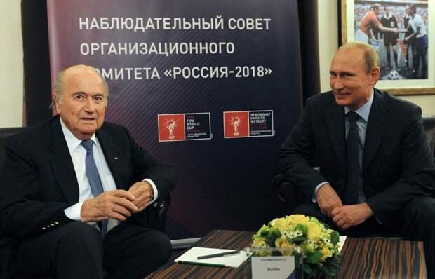 Президент ФИФА Йозеф Блаттер и президент России Владимир Путин