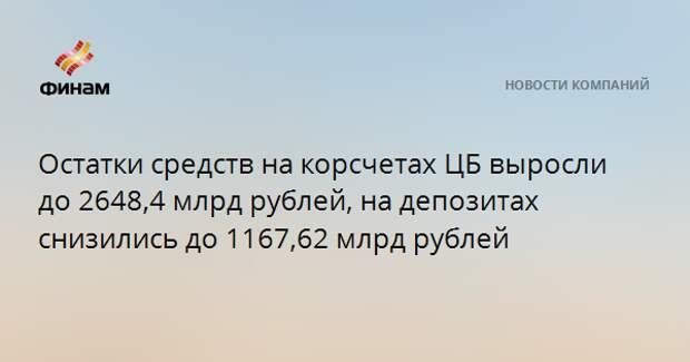 Остатки средств на корсчетах ЦБ выросли до 2648,4 млрд рублей, на депозитах снизились до 1167,62 млрд рублей