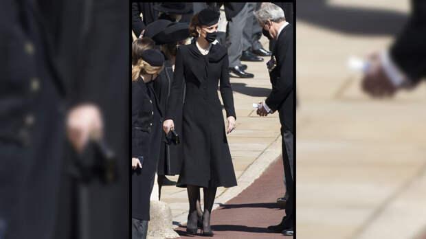 Кейт Миддлтон появилась на похоронах принца Филиппа в колье Елизаветы II