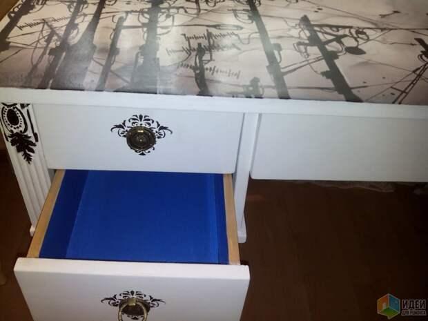 Стол для комнаты девочки, реставрация стола своими руками, стол декупаж