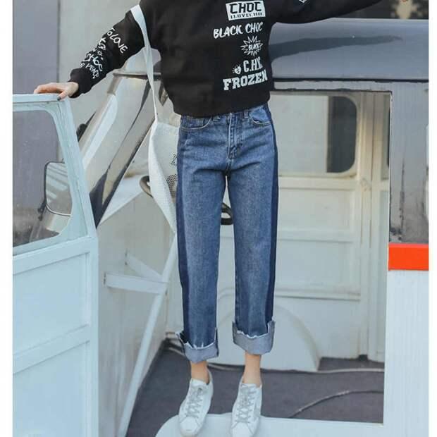 Двухцветные джинсы как тренд