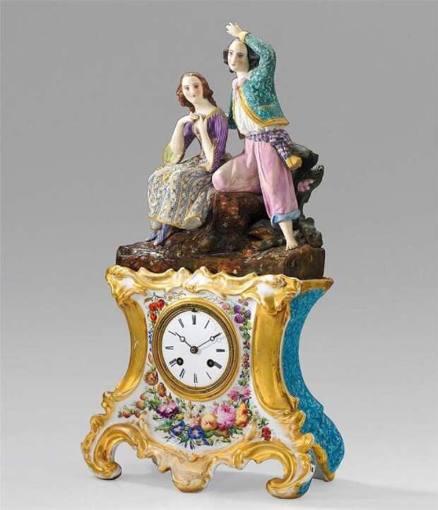 антикварный фарфор часы - 03