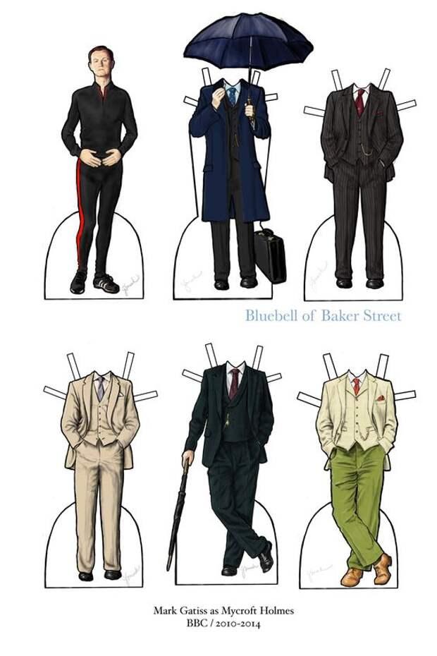 Бумажные куклы героями сериала Шерлок BBC