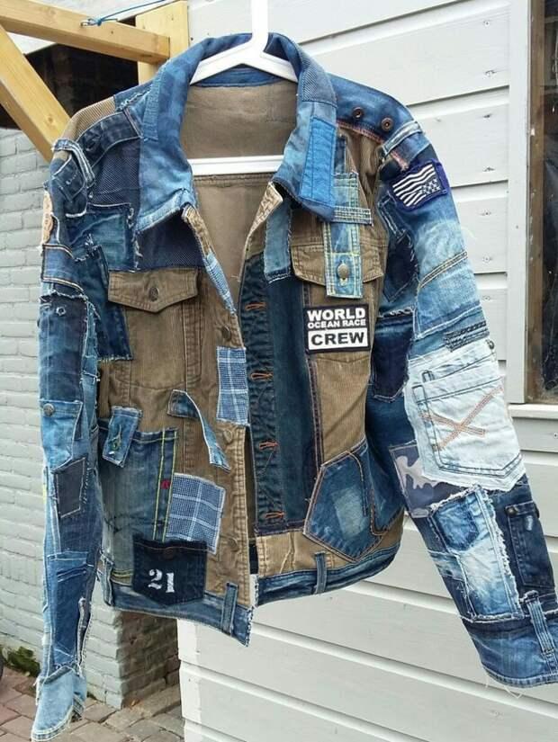 Куртка из кусков джинсовок
