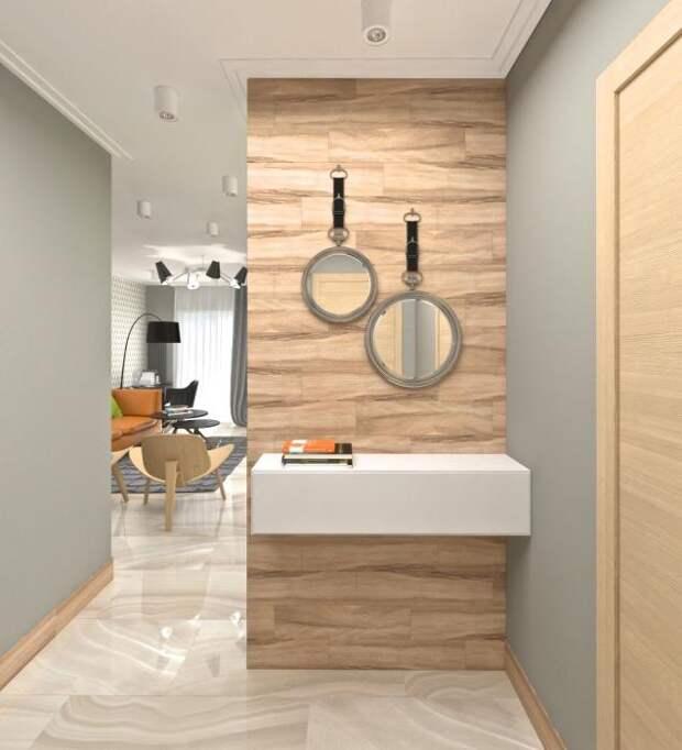 Дизайн-интерьера квартиры-студии, современный интерьер, дизайн маленькой прихожей, необычные зеркала
