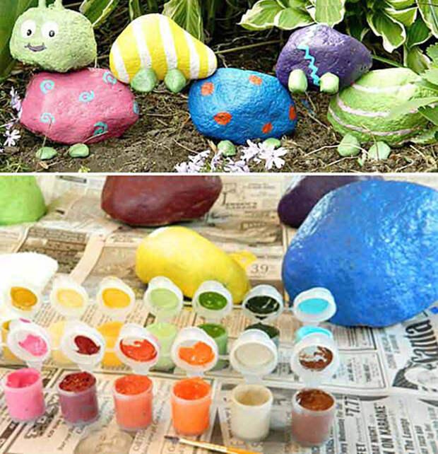 Очаровательная гусеница из разноцветных камней.