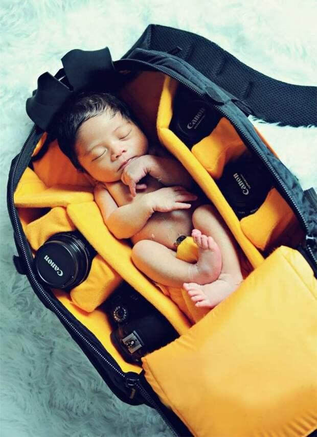 Фотографы снимают свих деток в фотосумках. Мило получается, неправда ли?:)