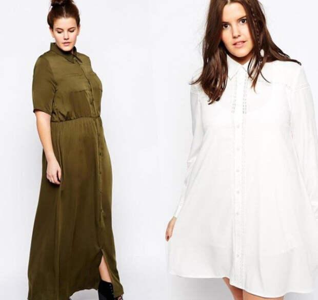 Платье-рубашка 2018 для полных: модные фото-новинки.