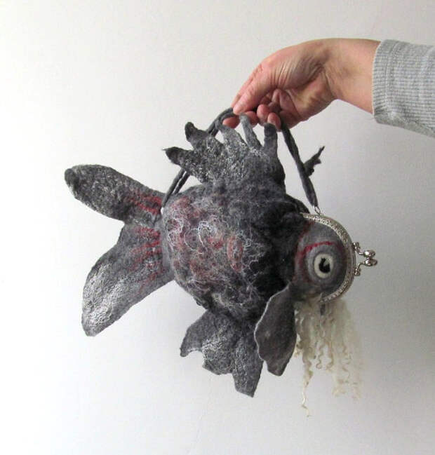Felted fish purse cosmetic Grey Striated frogfish Metal Frame  octopurse