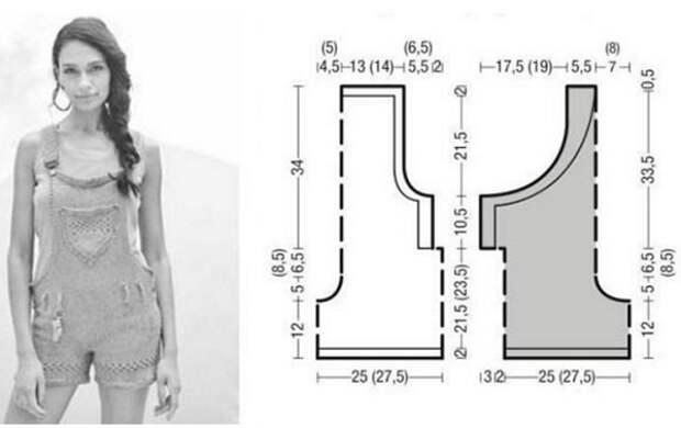 Вязание комбинезона с грудкой