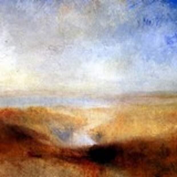 Пейзаж с далекой рекой и плотиной