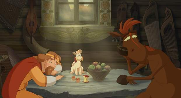 Кадр из мультфильма «Три богатыря. Ход конём»