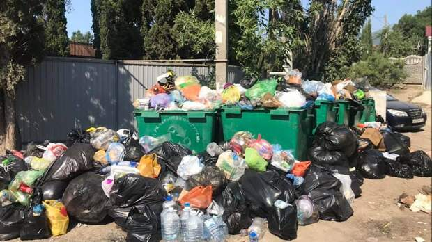 Жители Судака пожаловались на заваленные мусором контейнерные площадки