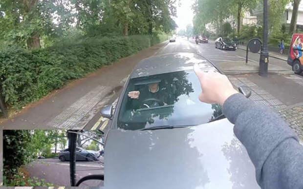 Велосипедист против водителя Мерседеса: нечего ездить по встречке!