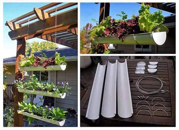 Висячий сад из водосточных труб. дача, идеи для дачи, своими руками