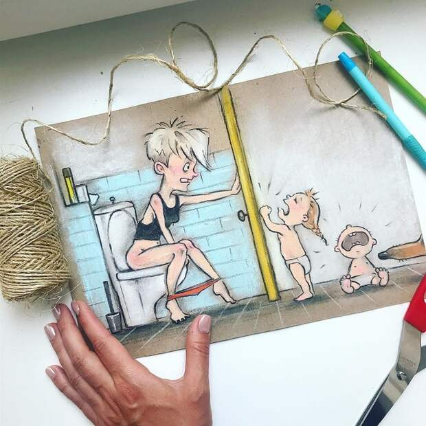 Мама двоих детей нарисовала свои будни. Наееиллюстрациях все родители узнают себя