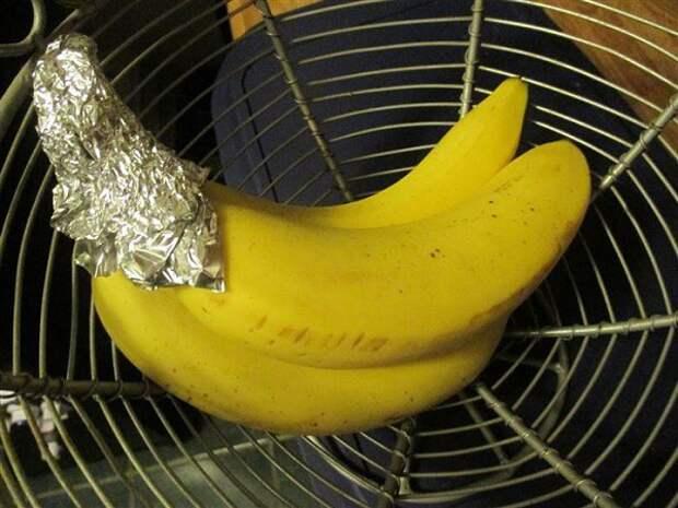 5. Сохранить свежесть бананов совет, фольга, хитрость