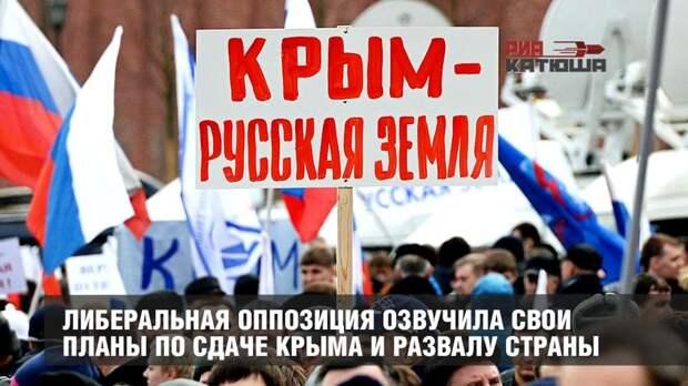 Либеральная оппозиция озвучила свои планы по сдаче Крыма и развалу страны