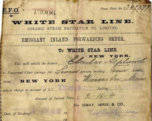 9. Пассажирский билет на Титаник. Апрель 1912 г. исторические фотографии, история, фото