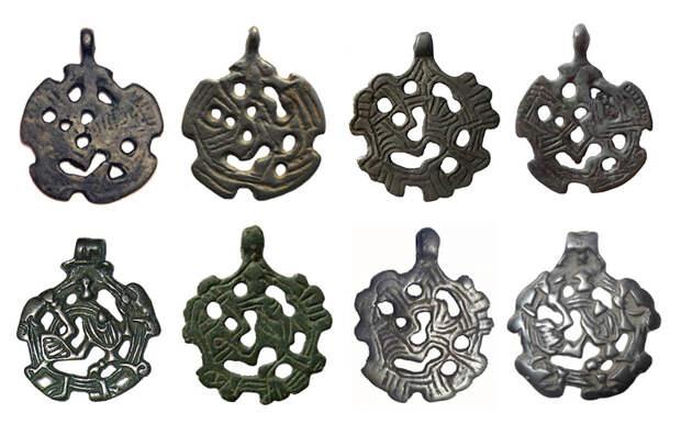Датируемые XI - XII вв. подвески, подражающие скандинавским подвескм-амулетам, встречаются по всей территории Древней Руси. Вероятно таким образом простые люди надеялись получить хотя бы толику силы, присущей викингам - неистовым и беспощадным воинам.