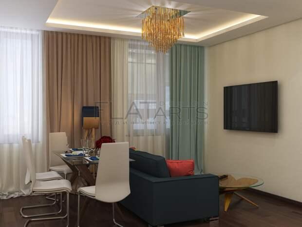 Дизайн-проект двухкомнатной квартиры, интерьер современной гостиной