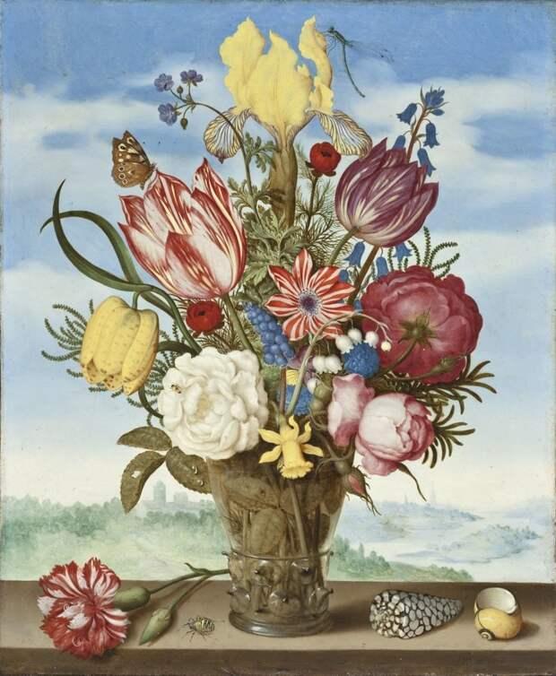 Амброзиус Босхарт Старший (Амброзий Босхарт, нидерл. Ambrosius Bosschaert de Oude; 1573, Антверпен — 1621, Гаага) — фламандский художник золотого века нидерландской живописи. голландские натюрморты, живопись, искусство, красота, цветы