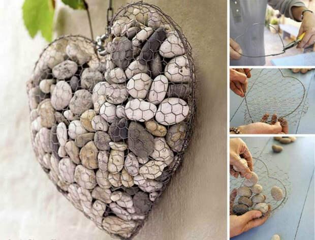 Очаровательное украшение в виде сердца из камней, проволоки и металлической сетки.