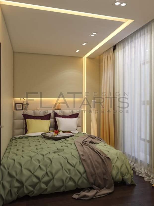 Дизайн-проект двухкомнатной квартиры, кровать в спальне