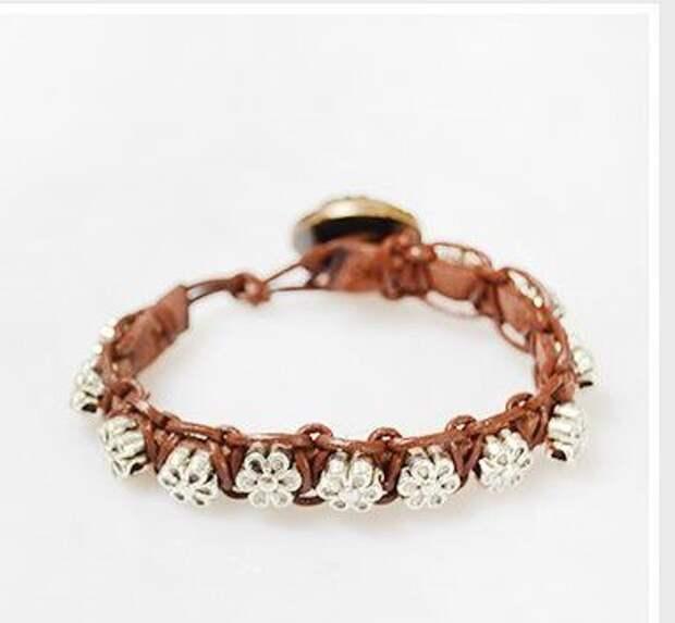 Плетеный браслет  с бусинами (Diy)
