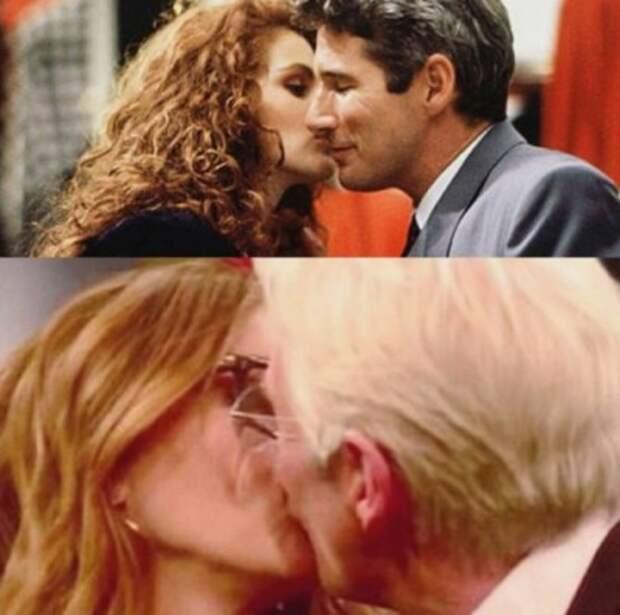 Джулия Робертс повторила легендарный поцелуй из «Красотки» спустя четверть века
