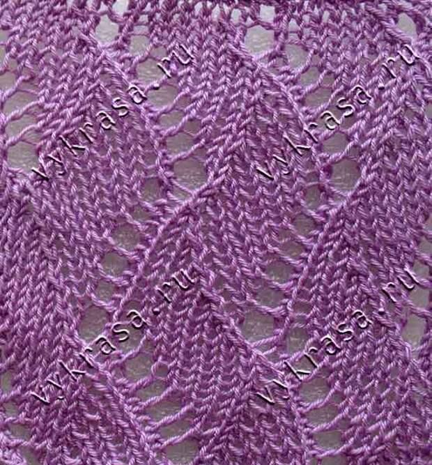 Фото: ажурный узор для вязания спицами