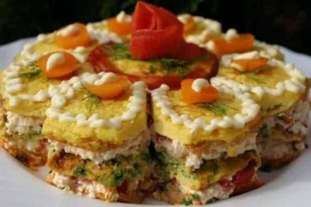 Закусочный торт: АППЕТИТНЫЙ, вкусный и ОЧЕНЬ красивый