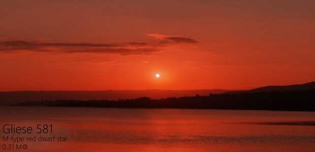 Вот Глизе 581 Альдебаран, закат, солнце