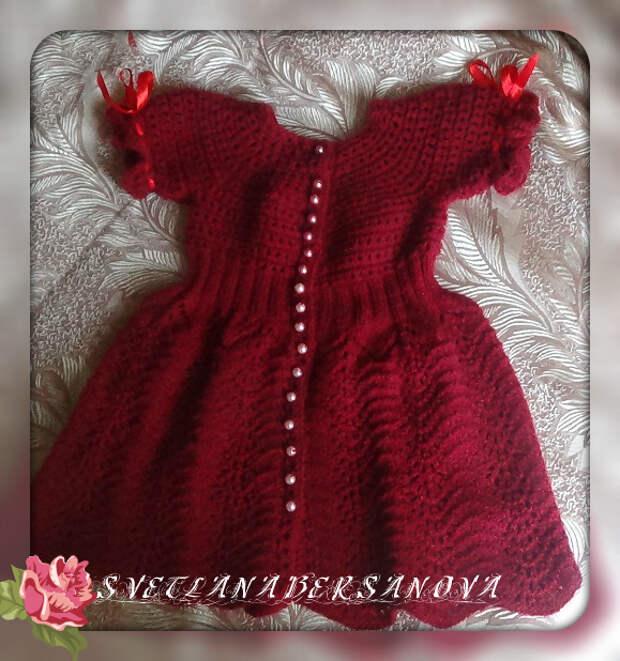 Платье спицами для девочки СПЕЛАЯ ВИШНЯ