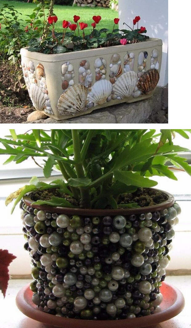 17 интересных идей по оформлению цветочных горшков своими руками