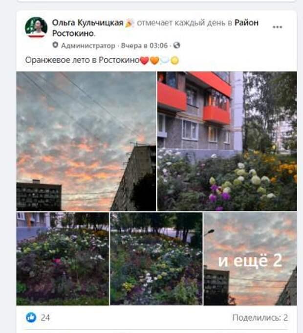 Фото дня: оранжевое лето в Ростокине