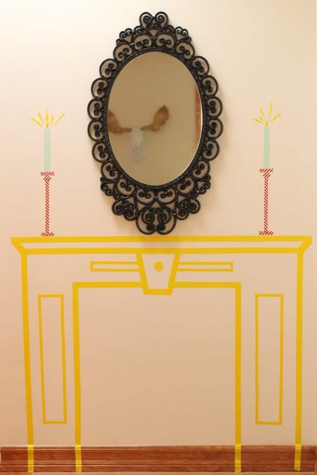 рождественского декора интерьера  - фальш камин из скотча