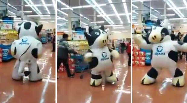 Этот танцор в костюме коровы заслуживает повышения зарплаты