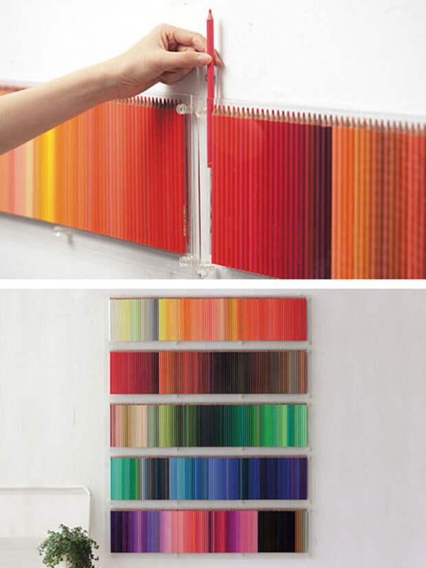 настенное панно из цветных карандашей