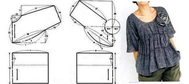 Выкройка японской бохо блузки