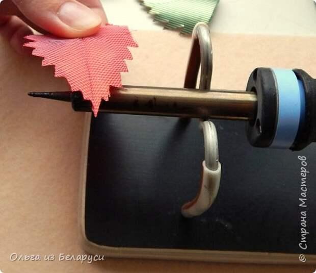 Мастер-класс Флористика искусственная Моделирование конструирование МК листка розы из фатина+роза из фатина Ленты фото 11