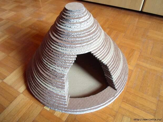 Кошкин домик из картона. Мастер-класс (14) (700x525, 301Kb)