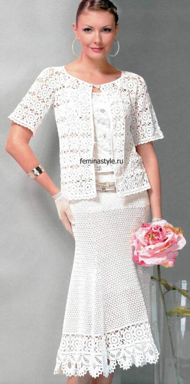 Летний костюм : жакет и юбка