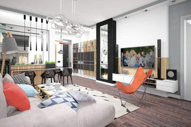 Кухня-гостиная, интерьер гостиной в светлых тонах