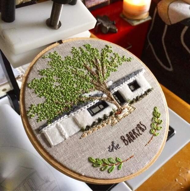 Вышитые домики Theresa Lawson