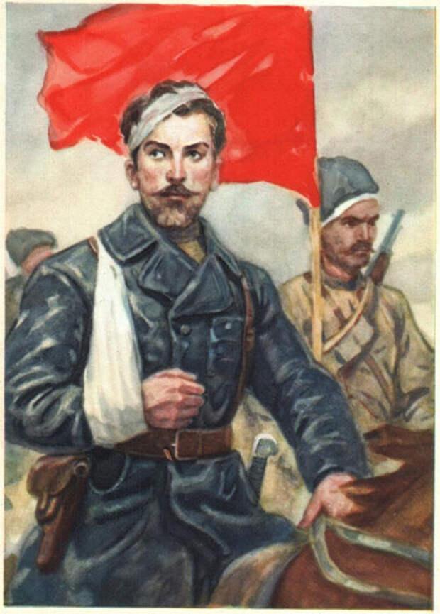 Николай Щорс на открытке ИЗОГИЗ, СССР.jpg