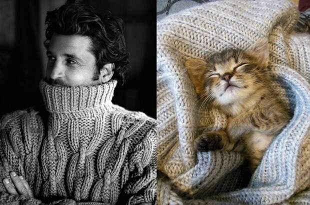 В любимом тёплом свитере намного теплее.