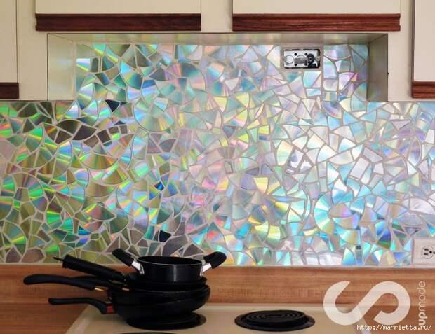 Отделка рабочей стены на кухне мозаикой из компакт-дисков (7) (700x539, 356Kb)