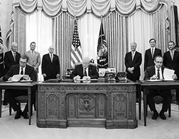 Лидеры Косово и Сербии были вынуждены сесть по разные стороны стола президента США